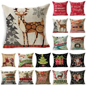 "18"" Merry Christmas Home Decor Linen Pillow Case Sofa Waist Throw Cushion Cover"