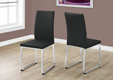 "Monarch Specialities Dining Chair - 2Pcs / 38""H / Black Leather-Look / Chrome"