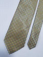 Saddlebred Mens Neck Tie Yellow Geometric 100% Silk