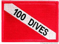 100 DIVES - EMBROIDERED SCUBA DIVING FLAG PATCH IRON-ON ACHIEVEMENT EMBLEM