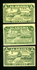 US Alabama Stamps VF 3 tax stamp values