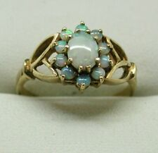 Beautiful 9 carat Gold Opal  Cluster Ring Size P.1/2