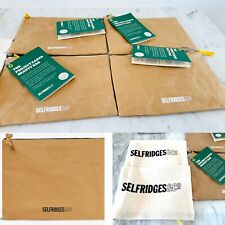 Selfridges Project Earth Beauty Bag Kraft Zip X 4 & 2 Drawstring Flax Blend Bags