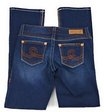Seven7 Bootcut Stretch Low Rise Thick Stitch Lightly Distressed Jeans Women's 6