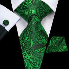 USA Green Black Paisley Mens Tie Necktie Silk Jacquard Woven Set  Party  Luxury
