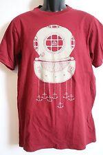 REEF Mens Red Submarine Anchors Short Sleeve Graphic T-Shirt MEDIUM