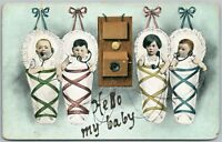 MULTIPLE BABIES HELLO BABY ANTIQUE POSTCARD TELEPHONE PIONEERS OF AMERICA