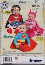 Simplicity Sewing Pattern 8193 Costume Supergirl Batgirl Wonder Woman SZ Baby