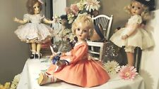 """Nancy Lee 20"""" R & B Arranbee 1947 Platinum Mohair Coral Pink Dress~Shoes~Bonnet!"""