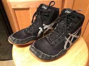 Asics Matflex 5 Wrestling Shoes C545N Black Silver Boys Youth Size 5.5