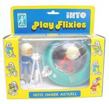 Biegbar Flexible Figure PLAY FLIXIES 2 Astronaut SPACE UFO Gift Set MIB`75 Rare!
