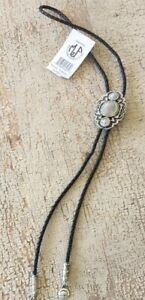 PEWTER REPLICA INDIAN HEAD NICKLE BOLO TIE W/BLK TIE MADE IN USA LOTS OF DETAIL