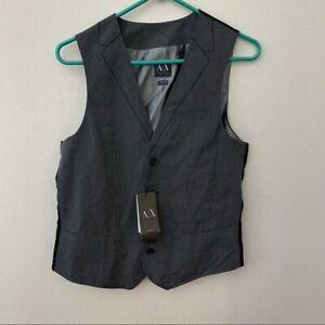 NWT A/X Armani Exchange Black Pinstripe Suit Vest Mens Size Small
