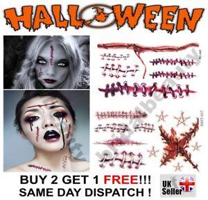 Halloween Zombie Scars Tattoos Fake Bullet Hole Blood Scar Wound Make-Up Kit UK