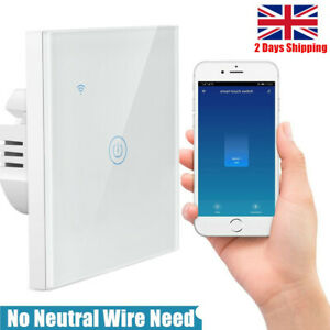 WiFi Smart Light Switch (NO) Neutral Wire Touch In Wall Remote Control For Alexa