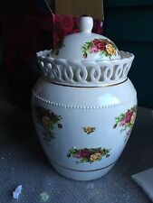 """Royal Albert Old Country Roses Covered Biscuit Barrel 12"""" Tall, Signed, NIB"""