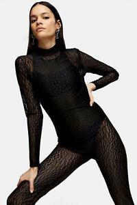 Topshop Idol Black Sheer Lace Mesh Leopard Print Catsuit Jumpsuit Size XS