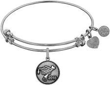 ANGELICA White Brass Class of 2018 Graduation Cap+Diploma Charm Bangle Bracelet