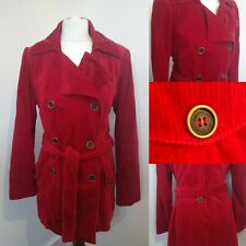 Per Una M&S Red Cord Coat double breasted belted satin lined Jacket 14 UK