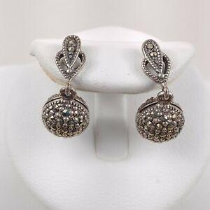 925 Silver Dangle Drop Sphere Round Rhinestone Earrings Vintage