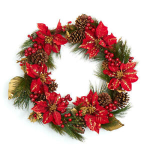 Factory Direct Craft Red Artificial Poinsettia and Pine Wreath with Gold Gl