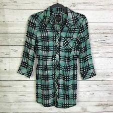 Guess jeans small tunic shirt plaid green stretch button front thin light