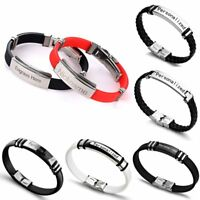 DIY Personalized Letter Engrave Stainless Steel Bracelets Bangle Custom Couple
