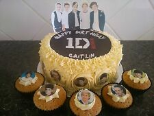 One Direction Cake Decoration Set + 10 Edible Cupcake Toppers - Personalised OD1