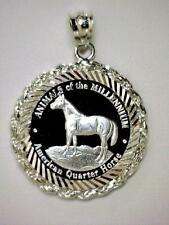 .999 PURE SOLID SILVER Quarter Horse Coin (22mm) in S/S Diamond-Cut Rope Pendant
