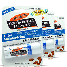 3x Palmers Cocoa Butter Formula Ultra Moisturizing SPF15 Soothing Lip Balm 4g
