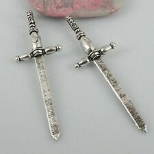 6pcs tibetan silver tone 59mm long sword pendant EF0388