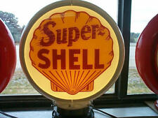 gas pump globe SUPER SHELL & LIGHT STAND NEW repro. 2 GLASS LENS NEW