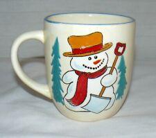 SALUTE CERAMICS 14 OZ SNOWMAN WITH SHOVEL RED SCARF CERAMIC MUG CUP