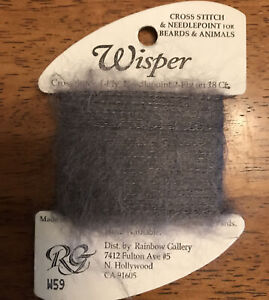 "RAINBOW GALLERY WISPER W59 ""FAUX FUR"" SANTA'S Gray Fuzzy Thread NEEDLEPOINT"