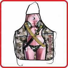 APRON-ATTITUDE FUNNY-SEXY MILITARY ZONE CAMOUFLAGE LADY WOMAN SOLDIER WARRIOR