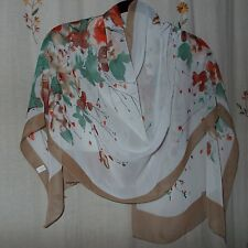 Tan & Spearmint Floral Design, Oblong Scarf, on Ivory Background