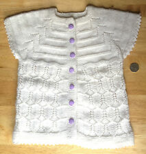 Handmade Knitted Unisex Baby Cardigan w Lilac Smiley Face Buttons White
