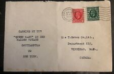 1936 Southampton England Cover To New York Usa Carried Queen Mary Maiden Voyage