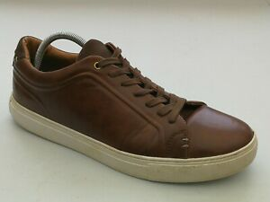 MENS RIVER ISLAND SHOES Size 10 Brown Faux Leather Lace Up