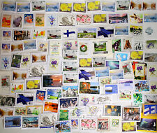 Lot of 100 pcs Finland / Finnish EURO stamps kiloware on paper - mostly 2010's