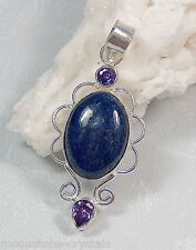 LAPIS LAZULI 925 STERLING SILVER PENDANT Amethyst Feature Crystals