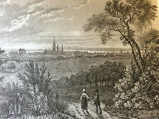 Estampe empire occident ville de Bonn milieu XIXeme siècle paysage