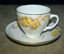 RARE BEAUTIFUL OLD ROYAL ENGLAND FOOTED TEACUP & SAUCER W/FLORAL & GOLD DETAIL