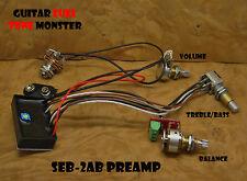 TONE MONSTER SEB2-AB Preamp Guitar Bass Balance Volume Treble/Bass 3 Pot +/-12dB