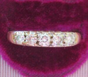 14K ANTIQUE VINTAGE DIAMOND ETERNITY WEDDING ANNIVERSARY RING BAND BEAUTIFUL WOW