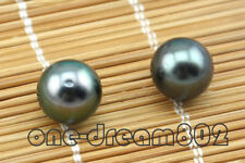 Real 10.5mm round tahitian peacock black seawater pearl loose bead 2pcs