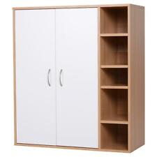 White Wood Cupboard With Shelves Office Storage Shelf Stylish Living Room Side