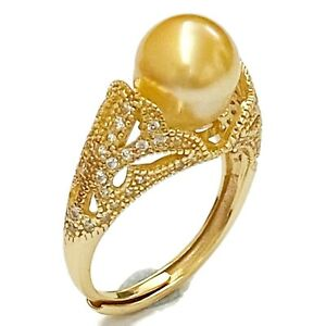 Superb 8.8mm Philippines South Sea Natural Gold Round Cultured Pearl Ring Size 7