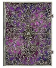 "Paperblanks JOURNAL Silver Filigree ""Aubergine"" LINED Ultra 7x9 Book New Writing"