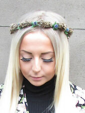 Navy Blue Real Dried Leaf Brown Berry Headband Garland Wreath Hair Flower 1213